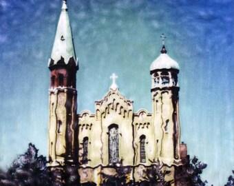 Old St. Pat's Church Polaroid SX-70 Manipulation - 8x8 Fine Art Photograph, Wall Decor