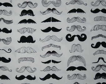 Mustache Fabric with Moustache Fabric By Yard, Quarter Yard, Fat Quarter Wheres My Stache Fabric Cotton Quilting Fabric t3/2