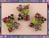 Beads Violets Flowers ~ Amethyst AB Swarovski Crystal Elements ~ 2 Hole Sliders QTY 3