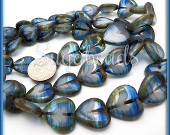 6 Blue & White Czech Glass Heart Beads Picasso Finish 16mm