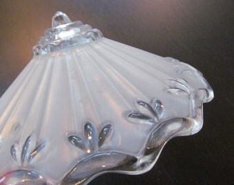 Retro Vintage Glass Ceiling Light Fixture - Clear and Frosted 3 Chain Hanging Shade - Bird Feeder Bath