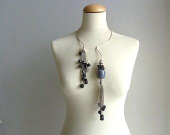 Silver black tassel wire choker necklace statement choker necklace
