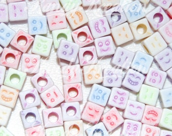 100 Emoji Face beads cube acrylic for kandi craft school kids beading jewelry smiley smiles smile happy laugh sad funny
