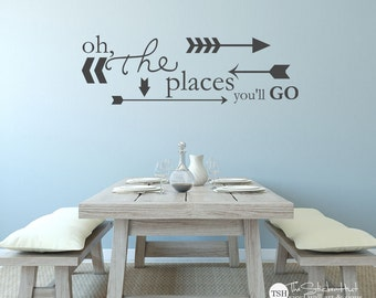Oh The Places You'll Go with Arrows - Bedroom or Nursery Decor - Vinyl Lettering - Vinyl Wall Art Words Decals Graphics Stickers Decals 1932