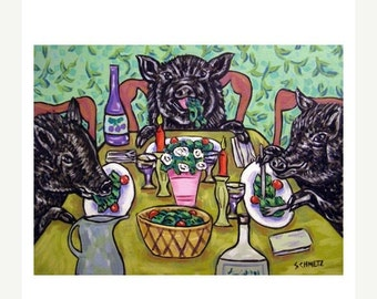 ON SALE Pigs Eating Art Print