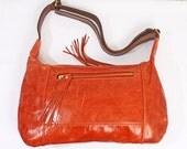 Orange Genuine Leather Shoulder Bag Purse