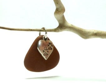 Genuine Drilled Beach Stone PAWS Triangle River Rock Pebble Charm Pet Lovers Cat Dog Print Silver Charm Natural Brown Fanned Stone