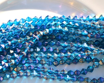 Capri Luster Bicone 6mm Czech Glass Beads  50