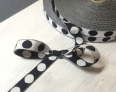 VINTAGE - Reversible Black Polka Dot Ribbon