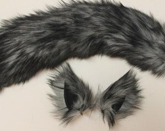 Grey Husky Wolf Costume - Wolf Ears and Wolf Tail- Husky Tail-Anime, Fantasy, Cosplay. Burning Man