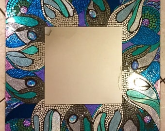 "Large ""Rogue Wave"" Stained Glass Mosaic Mirror Handmade Glitter Glass blue green beach ocean seaside"