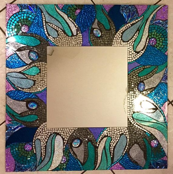 "24 X 24 Large ""Rogue Wave"" Stained Glass Mosaic Mirror Handmade Glitter Glass blue green beach ocean seaside"