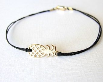 Pineapple bracelet, vermeil gold pineapple or sterling silver pineapple, linen boho bracelet, ready to ship, tropical, hawaii, gift for her
