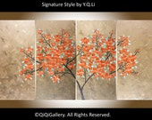 "Acrylic landscape Painting copper art wall decor home decor wall art wall hangings impasto art Canvas Art ""Copper Blossom"" by qiqigallery"