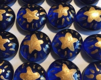 Gold stars star on blue Hand painted glass gems party favors set of 50
