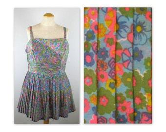 Vintage 60s Playsuit Romper Dress L Perfection by Roxanne Beachwear Swimwear