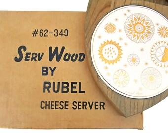 Vintage Mid Century Cheese Server Fred Press Original Box Flower Design White Gold Round Ceramic Tile 60s Home Decor Kitchen