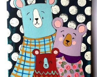 Three Bears Family 8 x 10 Original Painting on Canvas