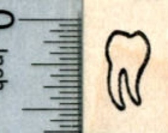 Tiny Tooth Rubber Stamp, Very Small Size A30920 Wood Mounted