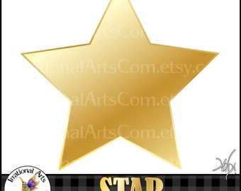 Star Shape Metallic Gold - 1  png digital graphics 12 inch[INSTANT DOWNLOAD]