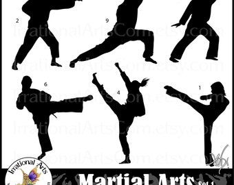 Martial Arts silhouettes set 1 - with 6 PNG digital files with 6 martial art poses{Instant Download}