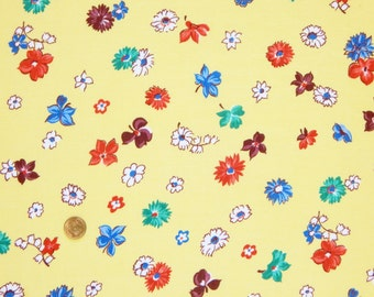 "Antique Vintage 36"" COTTON DRESS FABRIC - 1930s 40s Feedsack Era Sweet Flowers on Yellow 36"" w x 4 yds"
