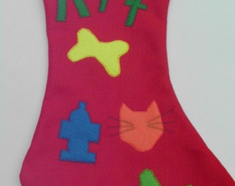 ARF handmade Felt DOG Christmas Stocking  Handmade Pet Gift puppy