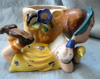 Vintage Miniature Girl and Bird Figurine with Vase, Occupied Japan, Highly Detailed