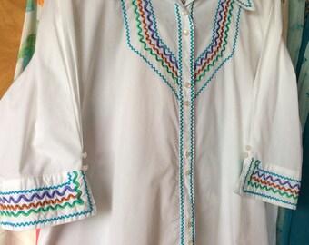 VINTAGE BOB MACKIE Blouse, shirt, designer clothing, rick rack, mid century fashion