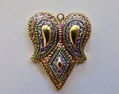 Metallic Multicolored Coated Acrylic Puffy Heart with Beaded Look Design Pendant  42x35mm  (1)