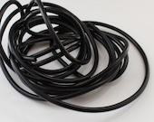 Rubber cord 4mm BLACK  , hollow tubing, 10 feet