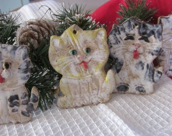SALE Kitty Tree Ornament Stoneware Pottery Hanging Ornament