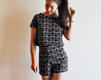 Black and White Tweed Top and Shorts Set -  Cropped High Waisted Pockets Arrow Print - Handmade by Vivat Veritas