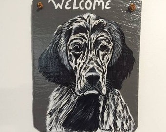 English Setter (black and white) Welcome Slate