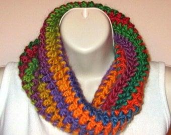 Soft Chunky Cowl -- Intense Rainbow 2 - Crocheted with Merino Wool/Nylon Yarn -- SOFT!  (SC007)