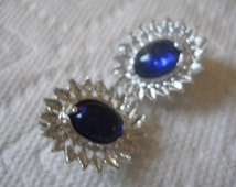 Gripoix Sapphire Oval Cabochons  and Textured Metal Oval Clip On Earrings in Silver Tone Metal