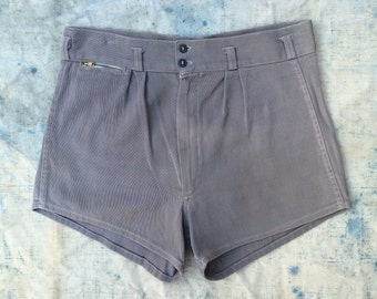 vintage ca. 1930s - 1940s men's athletic / swim shorts w. brass Talon zip pocket