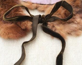 vintage c. 1950s handmade mink collar w. olive velvet bow tie