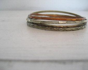5pc Set of Vintage Wire Metal Bangle Bracelets