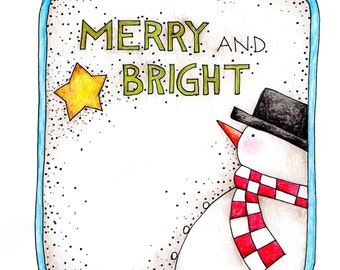Merry & Bright Snowman Iron On Transfer