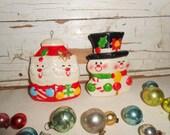 Vintage Christmas Blow Mold Snowman and Santa Claus Ornaments, Vintage Plastic Japan Christmas Ornaments