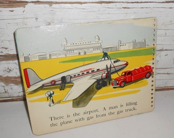 Vintage Airport Picture, Vintage Truck Picture, Vintage Book Page from Seattle top-Look-Listen, Childrens Book Page, Nursery Decor, Wall Art