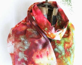 Red Gold Green Ice Dyed Cotton Voile Scarf 15x72 Hand Dyed Cotton Gauze Joyful Caravan slim2