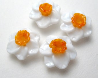 DAFFODILS Narcissus, Jonquil, artisan glass flower beads, Handmade Lampwork Beads