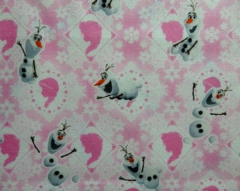 Snowman Fabric, Olaf Cotton Fabric, Happy Snowman Cotton Fabric in Pink and White by Kokka - 50 cm Remnant, Snowflake, Silhouette