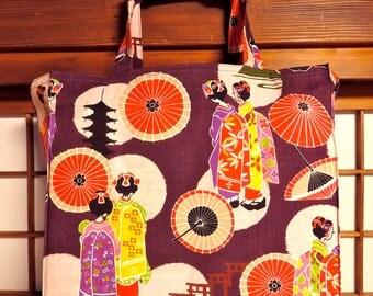 Geisha Tote Bag, Japanese Maiko, Geisha, Umbrella, Pagoda and Torii Gate TIGHT 'N' TIDY Tote Bag, Folding Shopping Bag, Market Tote Bag