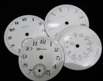 Steampunk Watch Dials Vintage Antique Faces Parts Enamel Porcelain Metal Mixed Media   WC 35