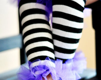 Black & White Striped ruffle tutu leg warmers, Tutu Leggings, Perfect for your Birthday party, photo prop, costume