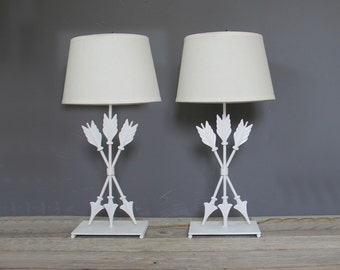 White Metal Arrow Table Lamps, Pair
