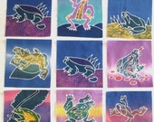 9 Batik Frog Quilt Blocks Kit